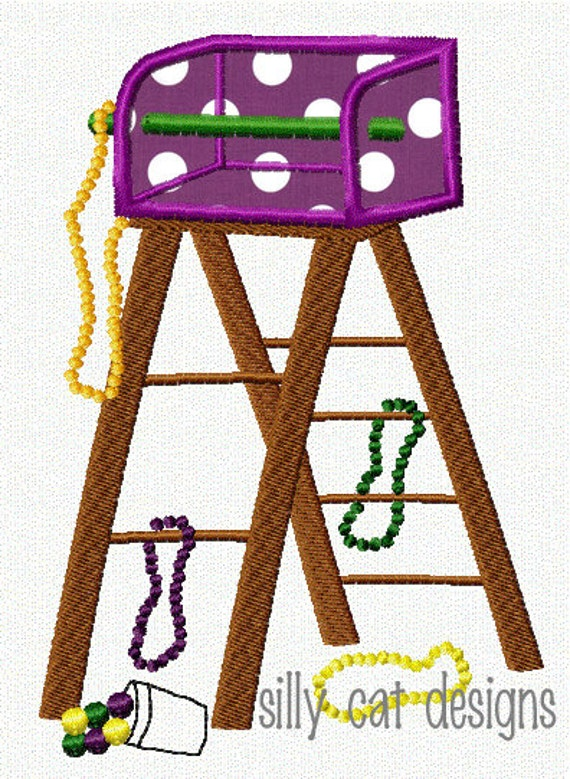 Mardi Gras Ladder Applique Embroidery Design