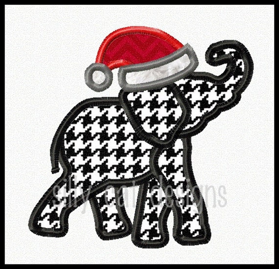 Santa Elephant Applique Embroidery Design