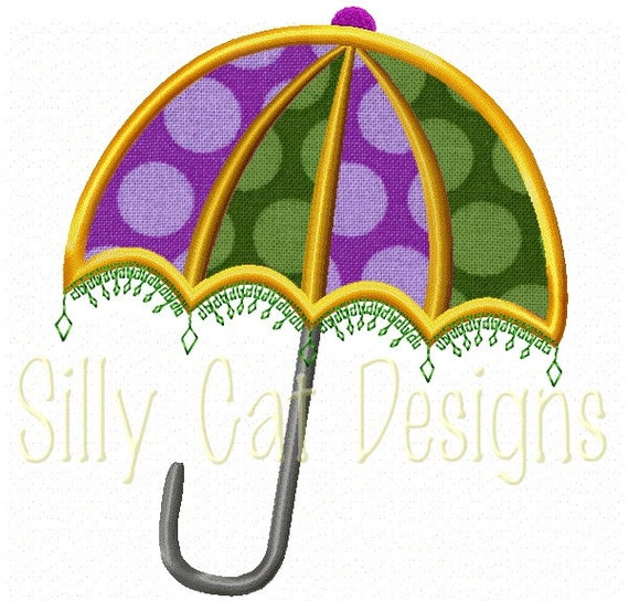 Mardi Gras Umbrella Applique Design