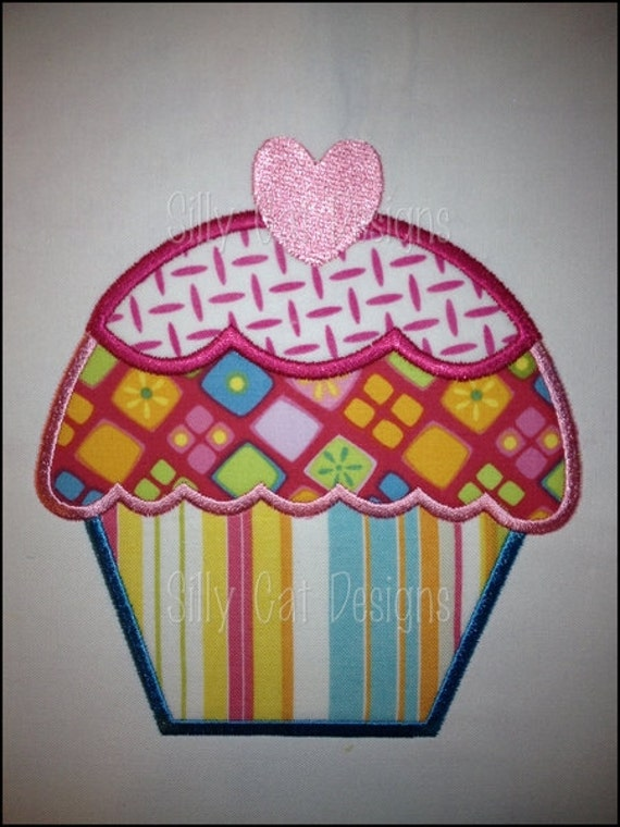 Cupcake Heart Applique Machine Embroidery Design