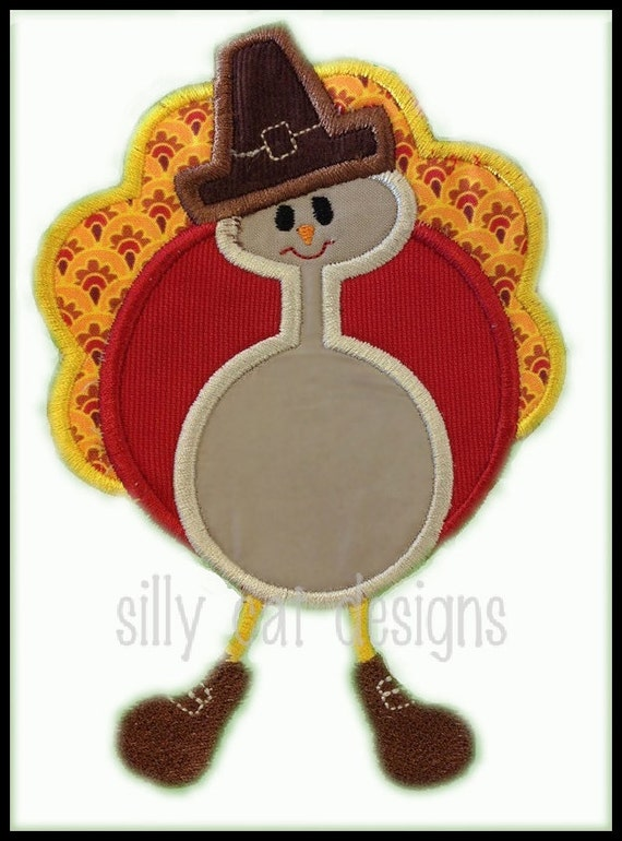Turkey with Hat Applique Embroidery Design