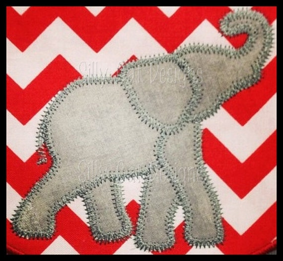 Zig Zag Elephant Applique Embroidery Design