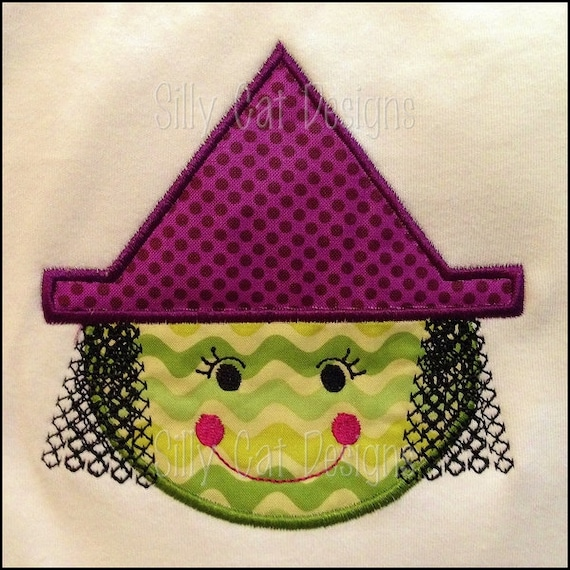 Witch Face Applique Embroidery Design