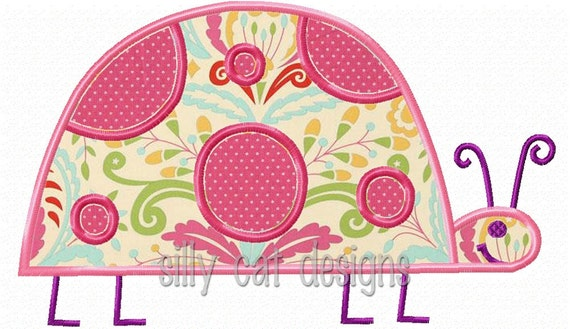 Ladybug Satin Applique Embroidery Design