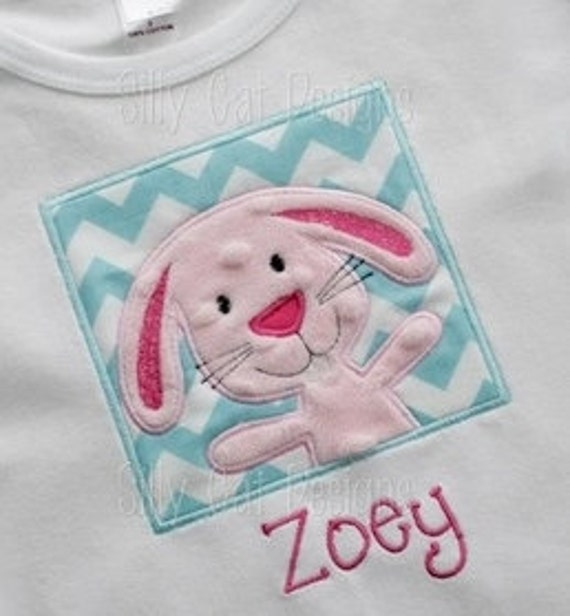 Bunny Patch Applique Machine Embroidery Design