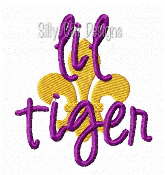 Lil tiger Fleur De Lis Embroidery Design