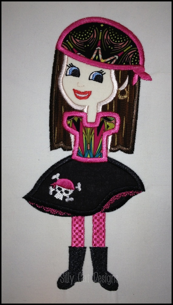 Pirate Princess Applique Machine Embroidery Design