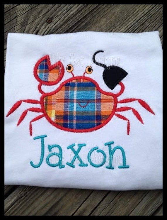 Pirate Crab Applique Machine Embroidery Design