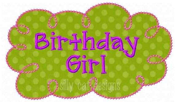 Birthday Girl Frame Applique  Embroidery Design