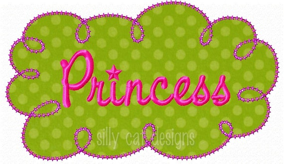 Princess Frame Applique  Embroidery Design