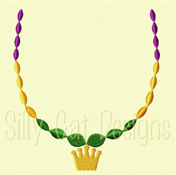 Mardi Gras Beads with Crown Pearl Necklace Embroidery Design