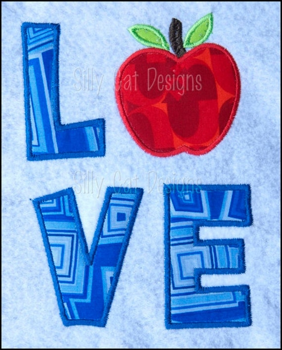 Love Apple Applique Machine Embroidery Design