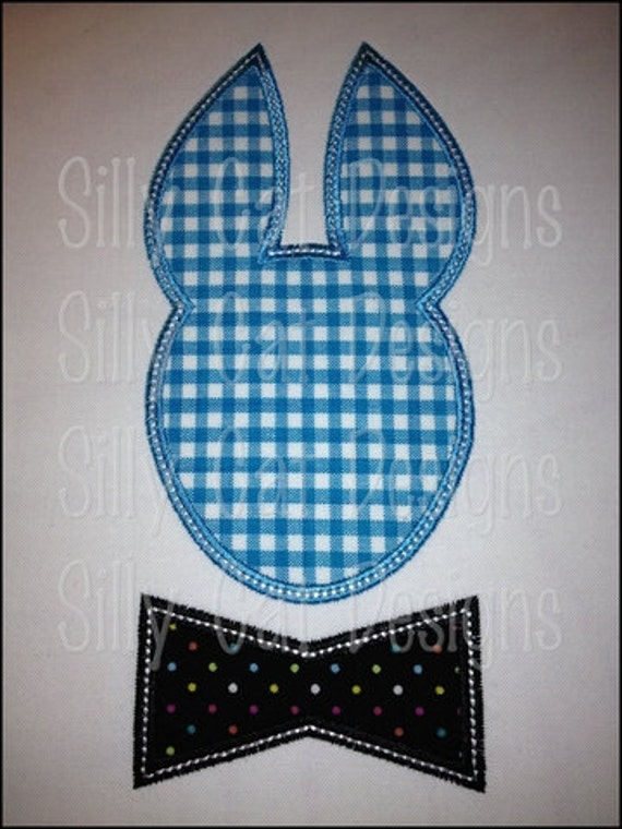 Bunny with a Bow Tie Applique Machine Embroidery Design