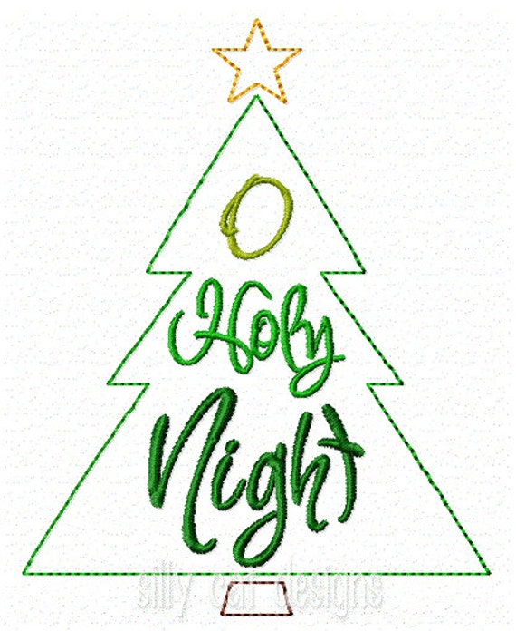 O Holy Night Tree Embroidery Design