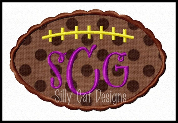 Scallop Football Applique Design