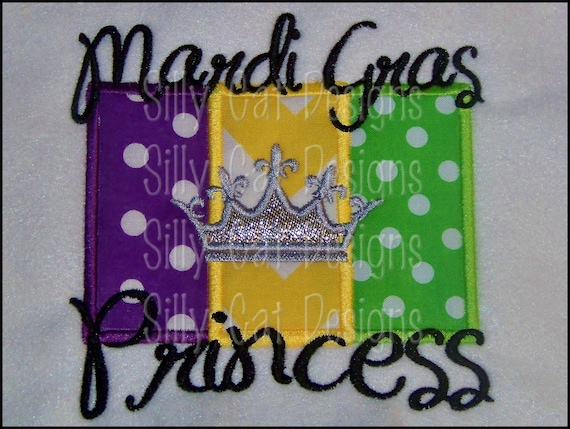 Mardi Gras Princess Applique Design