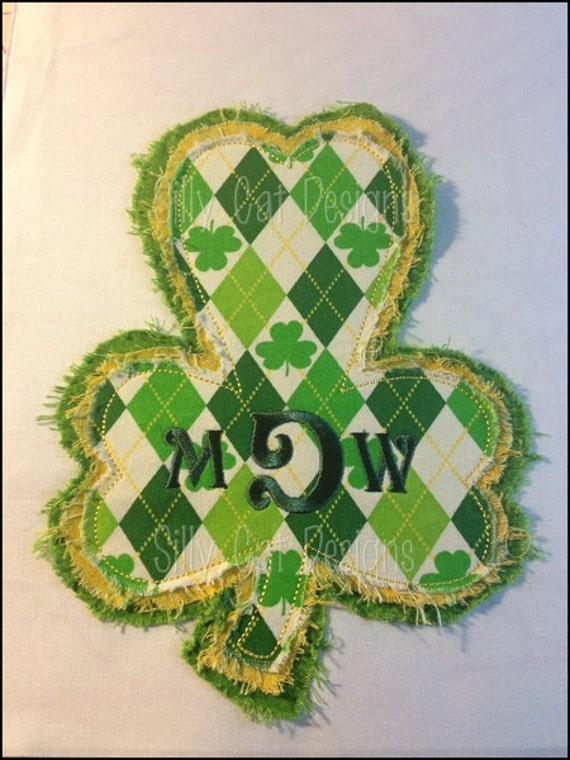 Raggy Clover Applique Machine Embroidery Design