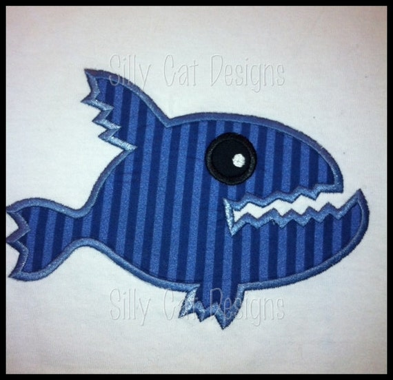 Piranha Fish Applique Design