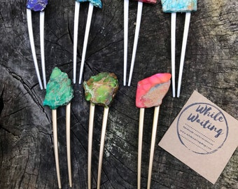 Blue GREEN Stone hair fork/ turquoise hair fork / druzy hair fork/ hair accessory / raw stone hair fork/ boho hair pin/ hair stick