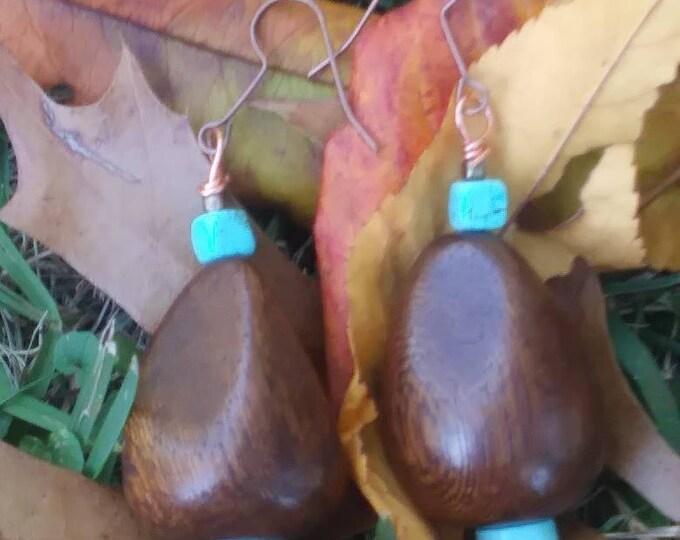 Wood earrings/ turquoise and copper earrings/ statement earrings/ boho earrings