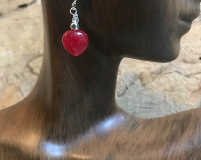 Valentines earrings/ Red heart earrings/ sterling silver glass heart earrings