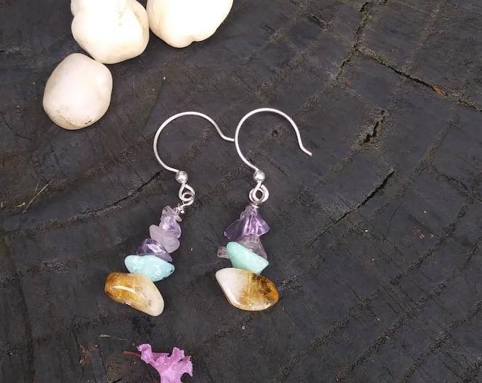 Amethyst/ Citrine earrings-  raw stone amazonite earrings