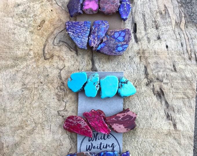 Turquoise purple red hair clip/ turquoise hair barrette / druzy hair clip/ hair accessory raw stone hair clip/ boho hair clip/ hair barrette