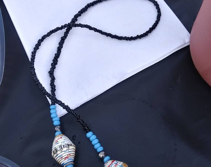 Black and whitePaper bead necklace- haitian paper and glass/ wood tone- boho accessories