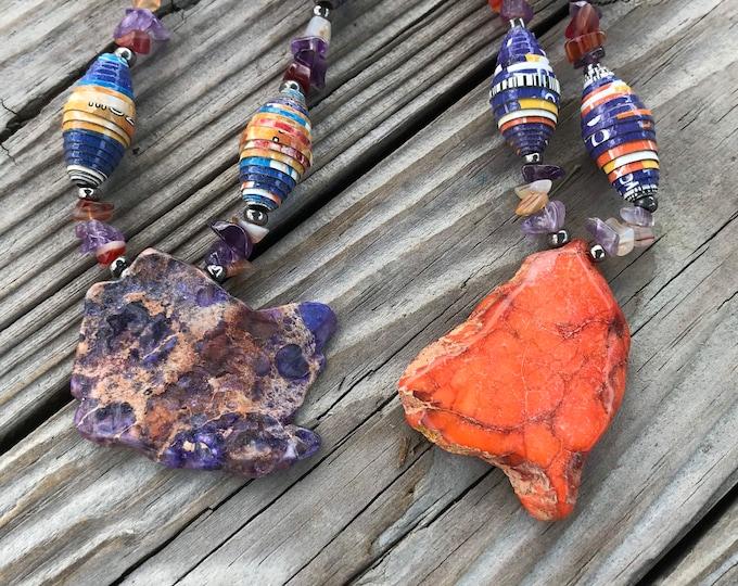 Purple/orange Rock statement beaded necklace- paperbead necklace / pendant statement necklace amethyst/ jasper necklace