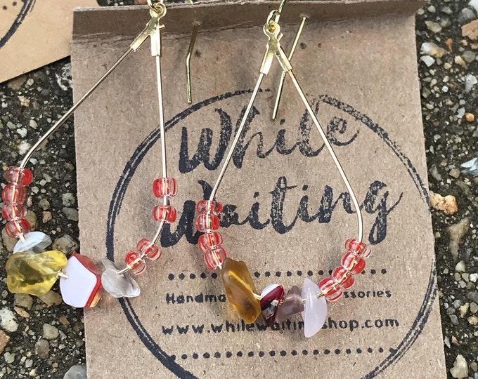 Gold and glass hoop earrings / minimalist colorful hoop earrings