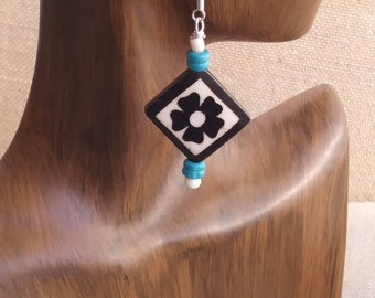Ebony earrings/ flower earrings/ wood earrings / ebony and turquoise earrings