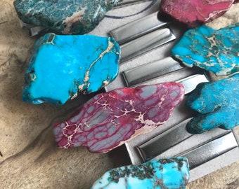 Stone hair clip/ turquoise hair clip/ druzy hair clip/ hair accessory / red stone hair clip/ boho hair clip