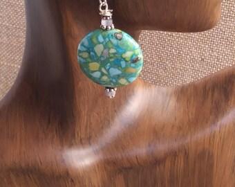 Aqua stone Earrings- round composite stone earrings- turquoise- blue- green earrings/ sterling silver earrings