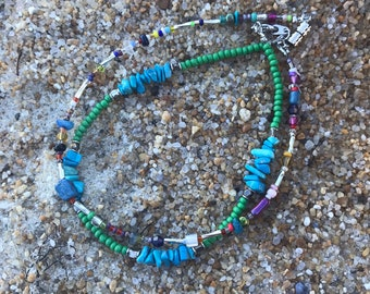 Turquoise & green boho anklet / seed bead anklet/ beach jewelry/ summer accessories