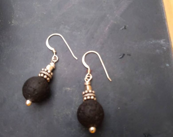 Diffuser earrings/ sterling and black lava stone