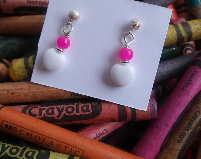 Girls heart earrings/ petite post sterling silver white and pink glass bead