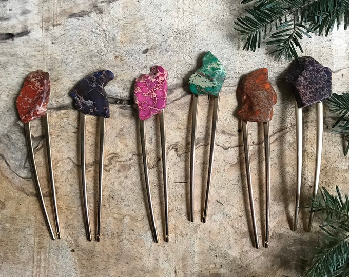 Purple Stone hair fork/ orange hair fork / druzy hair fork/ hair accessory / raw stone hair fork/ boho hair clip/ pink hair fork