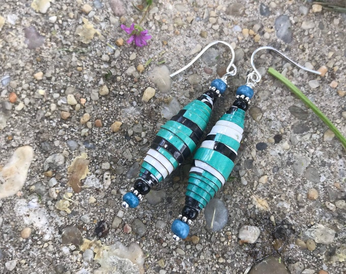 Paperbead earrings/ green blue/ silver earrings / black & white earrings /eco-friendly earrings