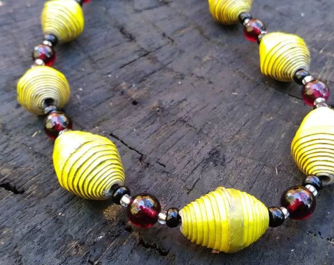 Garnet necklace /Garnet beaded necklace /garnet and mustard yellow paper bead necklace