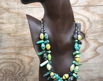 Chartreuse/ black yellow paperbead multi strand necklace/ eco friendly /chunky beaded necklace/ chartreuse stone statement necklace