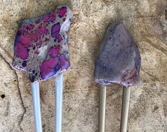 Purple Stone hair fork/ mauve violet hair fork / druzy hair fork/ purple hair accessory / raw stone hair pin/ boho hair clip/pink hair stick