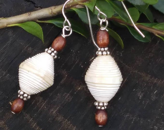 White paperbead Earrings-silver & wood earrings - white Haitian paper bead earrings - boho earrings