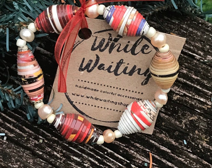 Boho stretch bracelet- freshwater pearl / recycled/ Haitian paperbeads / red/pink/white