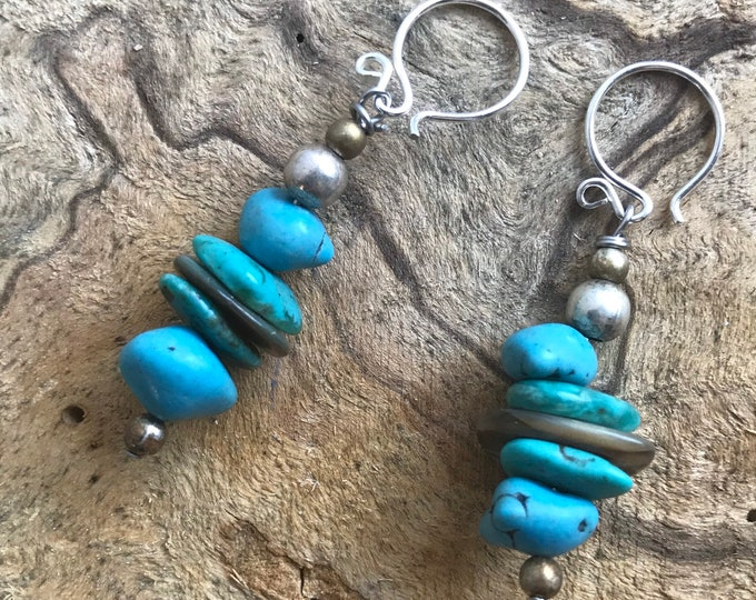 Turquoise & silver dangle earrings/ sterling silver stack earrings/ blue stone earrings