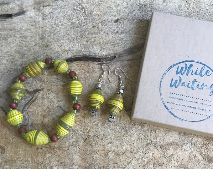 Yellow and olive paper bead bracelet and earrings set/ handmade bracelet set/ eco- friendly gift set