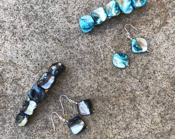 Hair barrette & earring set/ aqua blue or black shell/ Mother's Day gift set