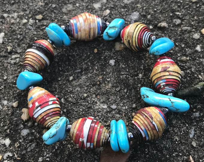 turquoise Paperbead stretch bracelet- multicolored/ recycled/ Haitian paperbeads/ boho turquoise brown and red