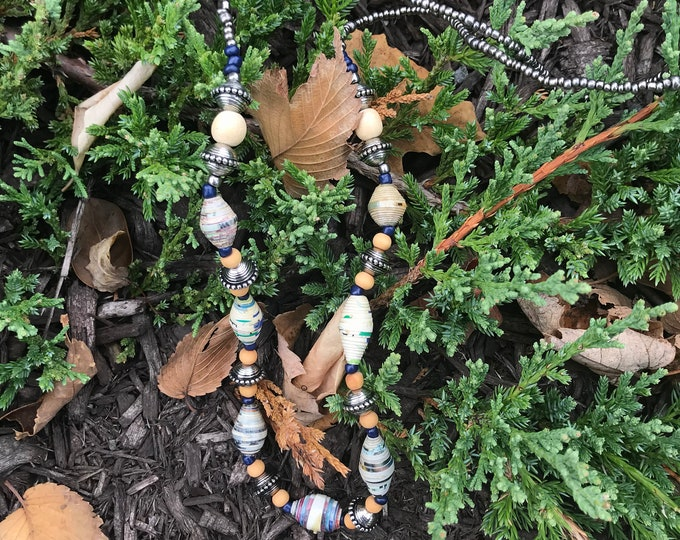 navy neutral paperbead necklace / blue beaded necklace / ecofriendly necklace
