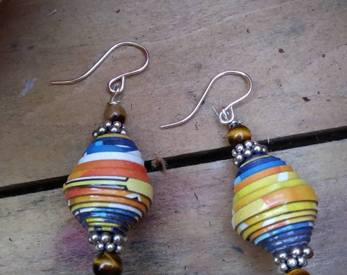 Earrings - orange paperbead earrings/ tigers eye earrings/ handmade/ sterling earrings