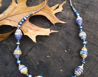 Necklace / Navy blue pearl and paper beaded necklace- haitian paper and glass/ silver tone- natural accessories